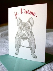 French bulldog card that says je t'aime
