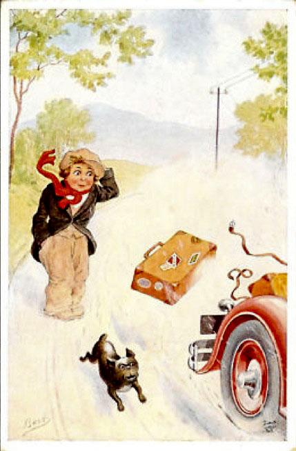 French bulldog chasing car