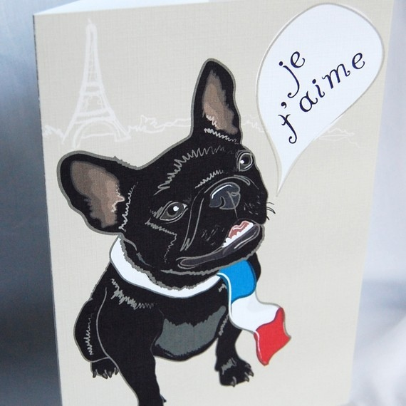 French Bulldog In Love Greeting Card