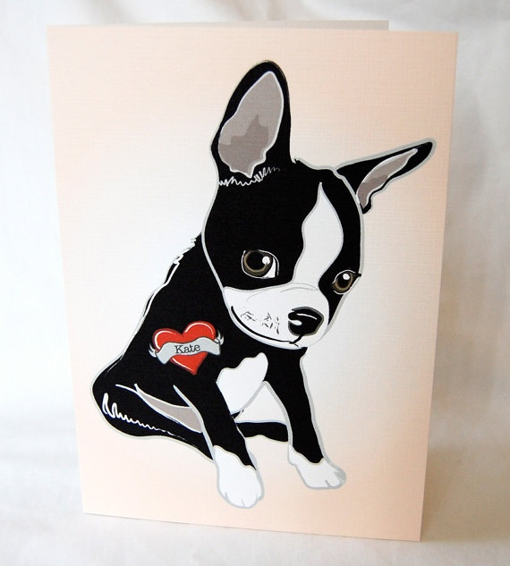 Custom Boston Terrier Tattoo Greeting Card