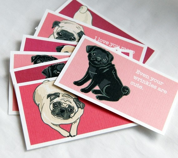 Pug Valentines Cards