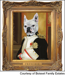 Artist Carol Lew's portrait of Frenchie the bulldog as Napoleon