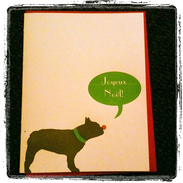 French Bulldog Christmas Card Joyeux Noel