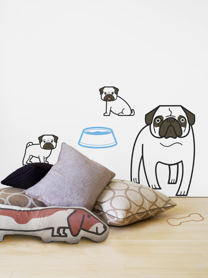 Pug Family Wall Decals