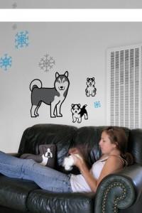 Pillow Pillow Pillow Siberian Husky Family